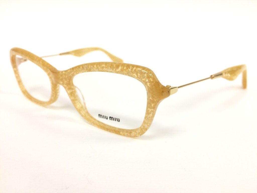 ff68372a5ecf Miu Miu VMU06L Yellow Glitter Optical Frame