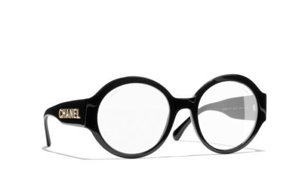 Chanel 5410 | Black and Gold Round Eyeglasses