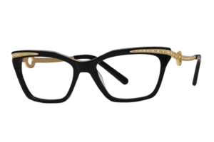 Caviar M2010 | Savvy Black Cat Eyeglasses With Swarovski Crystals