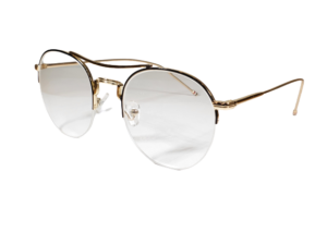 FS Custom Gold Round Semi-Rimless Eyeglasses
