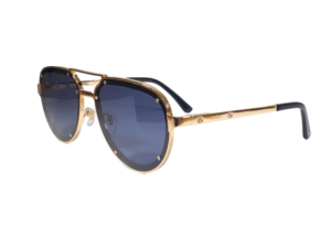 60MM Titanium Aviator Blue Lens Sunglasses